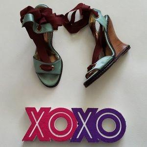 BCBGMAXAZRIA teal satin red tie ankle wedge sandal